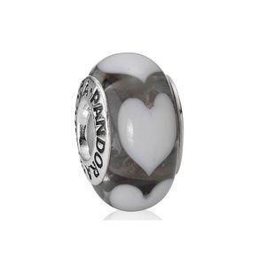 Pandora Retired Grey Glass Heart Murano Charm